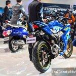 Suzuki Gixxer SF-Fi with rear disc brake rear three quarter main at Auto Expo 2016
