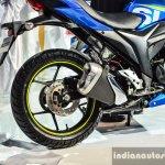 Suzuki Gixxer SF-Fi with rear disc brake rear wheel at Auto Expo 2016