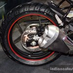 Suzuki Gixxer SF-Fi with rear disc brake rear wheel detail at Auto Expo 2016