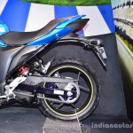 Suzuki Gixxer SF-Fi with rear disc brake rear wheel profile at Auto Expo 2016