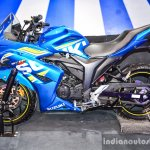 Suzuki Gixxer SF-Fi with rear disc brake side at Auto Expo 2016