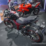 Suzuki Gixxer rear disc brake variant rear quarter at Auto Expo 2016