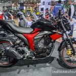 Suzuki Gixxer rear disc brake variant side at Auto Expo 2016