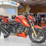 TVS Apache RTR 200 4V front quarter at Auto Expo 2016