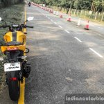 TVS Apache RTR 200 4V rear on test track review