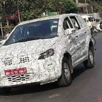 Tata Hexa camouflaged front quarter spied near ARAI Pune