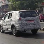 Tata Hexa camouflaged rear quarter spied near ARAI Pune