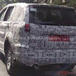 Tata Hexa camouflaged rear spied near ARAI Pune