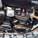 Triumph Bonneville Street Twin Matt Black exhaust outlet at Auto Expo 2016