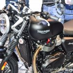 Triumph Bonneville Street Twin Matt Black fuel tank at Auto Expo 2016