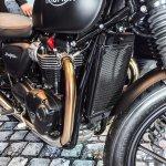 Triumph Bonneville Street Twin Matt Black radiator at Auto Expo 2016
