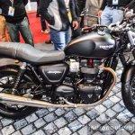Triumph Bonneville Street Twin Matt Black side at Auto Expo 2016