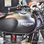 Triumph Bonneville Street Twin Matt Black tank at Auto Expo 2016