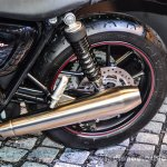 Triumph Bonneville Street Twin Red exhaust at Auto Expo 2016