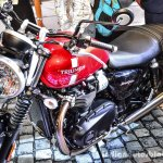 Triumph Bonneville Street Twin Red front quarter at Auto Expo 2016