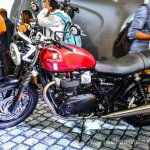 Triumph Bonneville Street Twin Red side at Auto Expo 2016