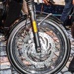Triumph Bonneville T120 Black front disc brake spoke wheel at Auto Expo 2016