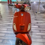 Vespa SXL 150 red front at Auto Expo 2016
