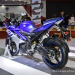 Yamaha R15 V2 Revving Blue rear quarter at Auto Expo 2016