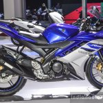 Yamaha R15 V2 Revving Blue side at Auto Expo 2016