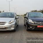 2016 Honda Amaze 1.2 VX (facelift) old vs new front First Drive Review