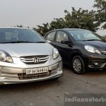 2016 Honda Amaze 1.2 VX (facelift) old vs new front quarter First Drive Review