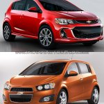 2017 Chevrolet Sonic hatchback (facelift) old vs. new