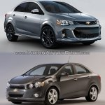 2017 Chevrolet Sonic sedan (facelift) old vs. new