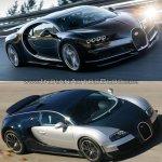 Bugatti Chiron vs. Bugatti Veyron front three quarters in motion