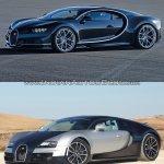 Bugatti Chiron vs. Bugatti Veyron front three quarters standstill
