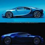 Bugatti Chiron vs. Bugatti Veyron side profile
