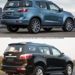 Chevrolet Trailblazer Premier (facelift) vs older model rear three quarter