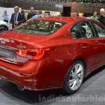 Infiniti Q50 Hybrid rear three quarters at the 2016 Geneva Motor Show