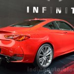 Infiniti Q60 rear three quarters right at the 2016 Geneva Motor Show