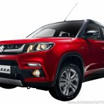 Maruti Vitara Brezza front quarter red press image