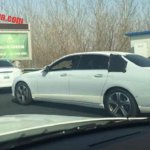 Mercedes E Class LWB (E Class Maybach) rear three quarter spotted with less camouflage
