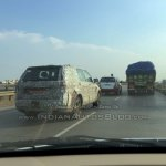 Tata Hexa camouflaged prototype alloy wheels spied