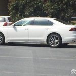 White VW Phideon side profile spied in China
