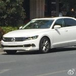 White VW Phideon side view spied in China