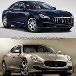 2016 Maserati Quattroporte (facelift) vs. 2013 Maserati Quattroporte front three quarters right side