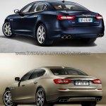 2016 Maserati Quattroporte (facelift) vs. 2013 Maserati Quattroporte rear three quarters left side