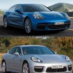 2017 Porsche Panamera vs. 2014 Porsche Panamera front three quarters right side