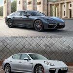 2017 Porsche Panamera vs. 2014 Porsche Panamera front three quarters standstill
