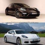 2017 Porsche Panamera vs. 2014 Porsche Panamera front three quarters