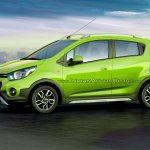 Chevrolet Beat Activ rendered in green color