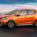 Chevrolet Beat Activ rendered in orange color