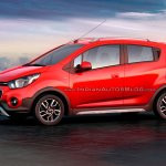 Chevrolet Beat Activ rendered in red color