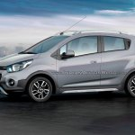 Chevrolet Beat Activ rendered in silver color