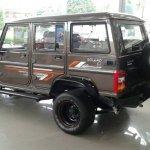 Modified Mahindra Bolero rear three quarter spied at a dealership