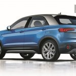 VW Polo-based SUV rear three quarters rendering